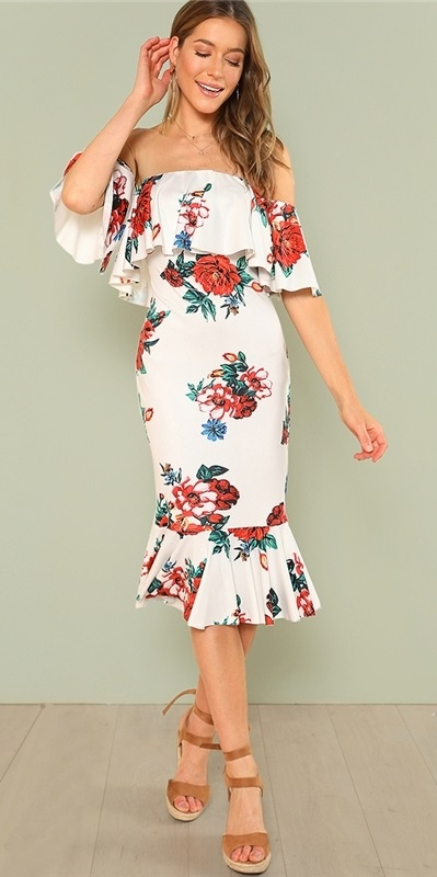 a58bfa3d1d8e 87) White Flounce Layered Neck Floral Print Ruffle Dress + ankle strap  sandals. Pic by lfoffer source