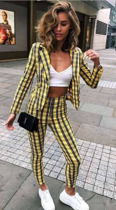 8e59152950 97) Yellow check blazer and trouser + white sneakers. Pic by trendyontime  source