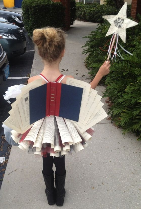 Adorable book fairy diy costume for Halloween carnival.