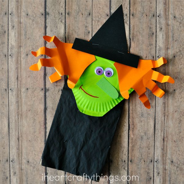 Adorable paper bag Halloween witch craft for kids.