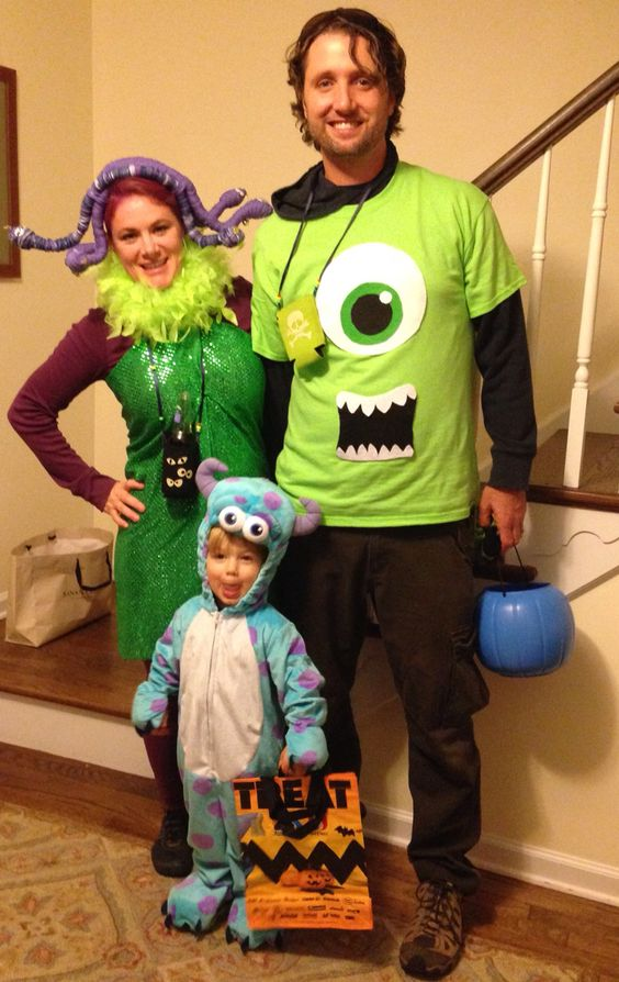 Awesome Mike Wazowski, Sully and Boo from Monsters Inc family costumes.