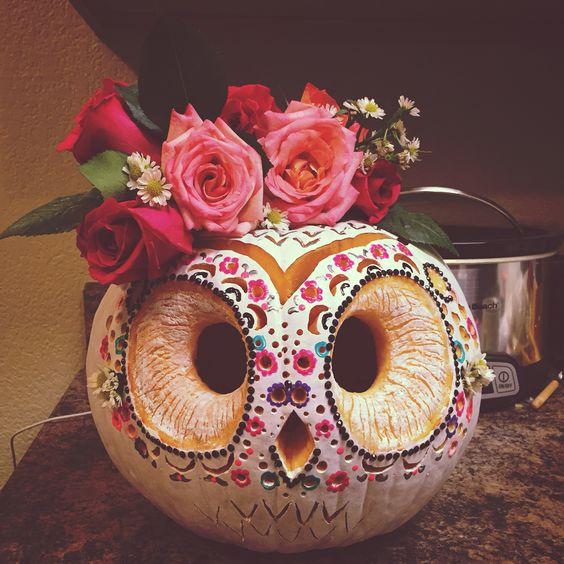 Beautiful sugar skull owl shape pumpkin carving.