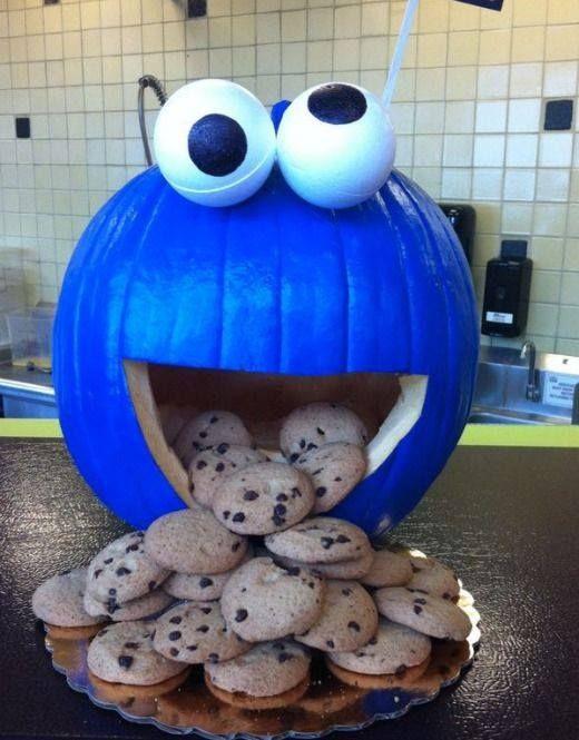 Blue cookie monster pumpkin carving idea.