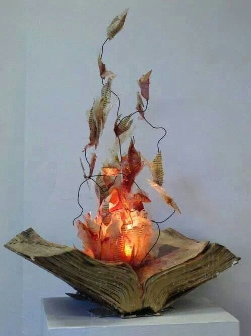 Burning book for indoor decor for Halloween.