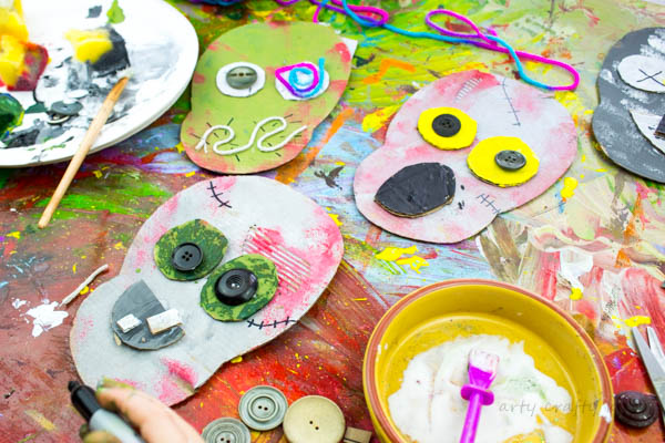 Cardboard Zombie crafts for kids.