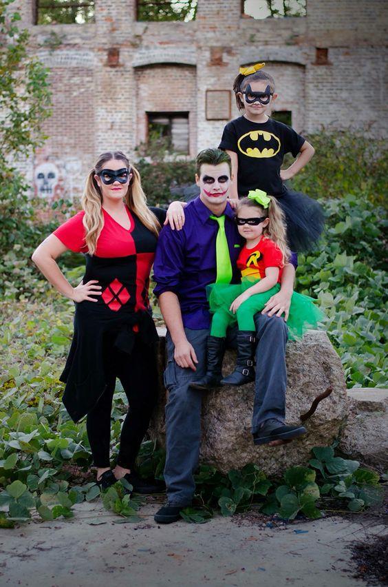 Chic Batman & Robin Joker & Harley Quinn family Halloween costumes.