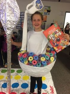 Chic Fruit Loops Cereal Bowl costume with milk jug headpiece for Halloween school costume.