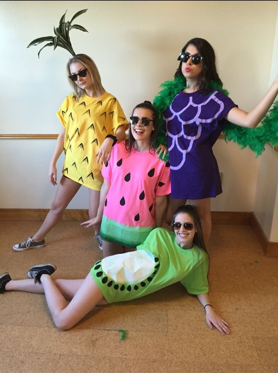 Chic fruit costume for group.