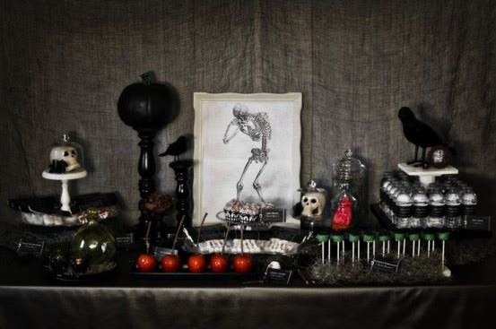 Classic red and black Halloween table decor.