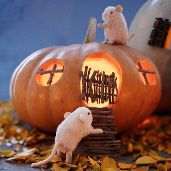 Cleaver pumpkin carving as mice house.