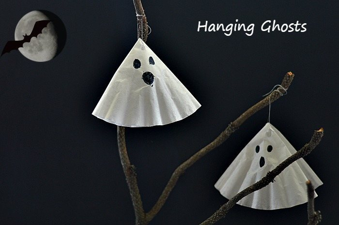 Coffee filter hanging ghost craft.