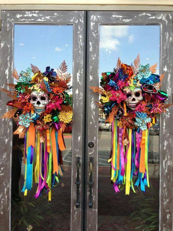 Colorful Halloween wreath.