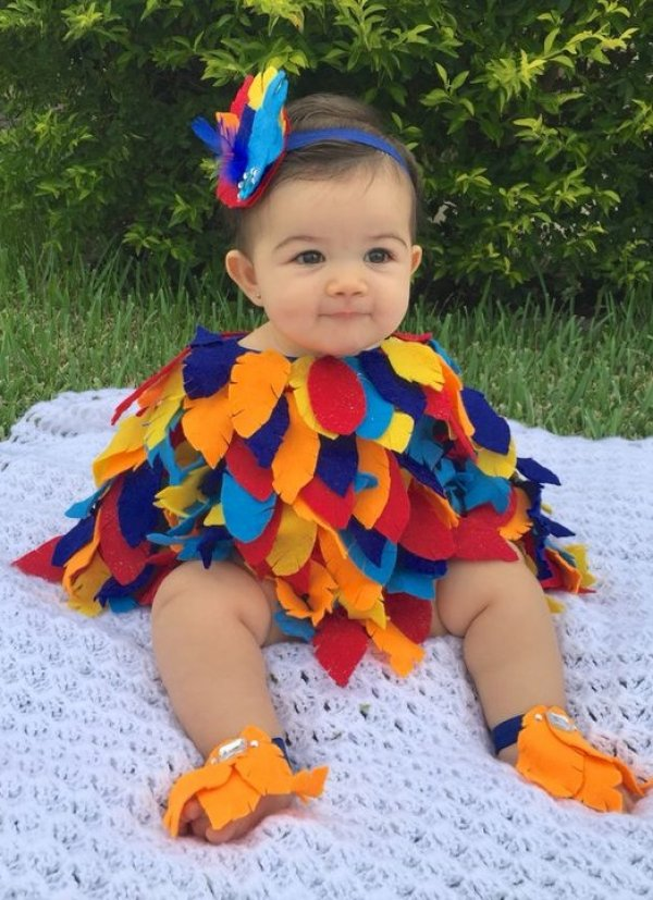 Colorful bird costume for Halloween party.