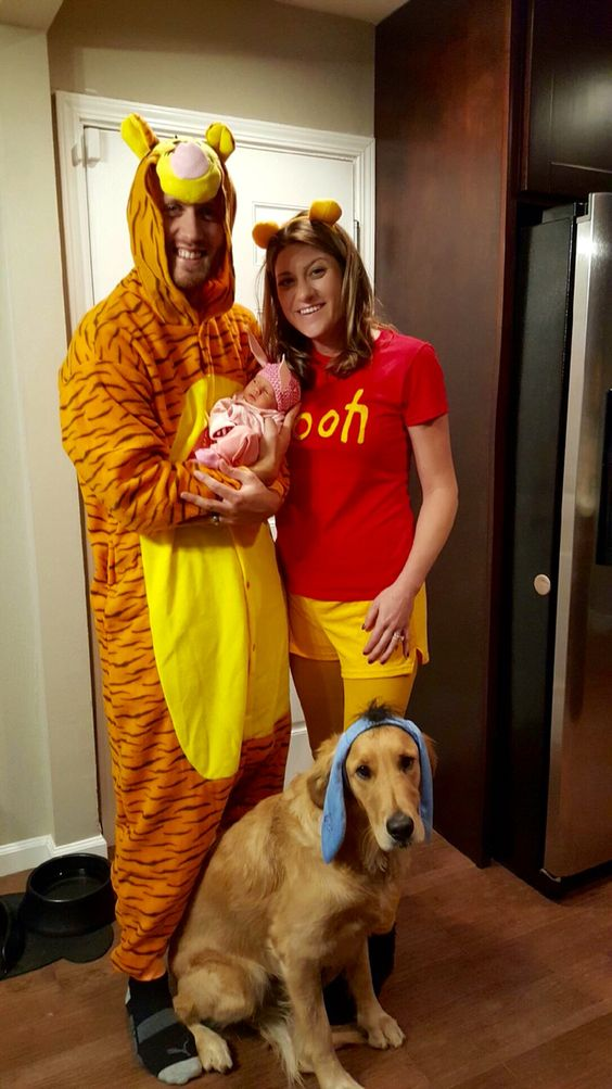 Cool Pooh Halloween family costume with newborn.