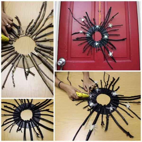 Creative DIY spider wreath for this Halloween.