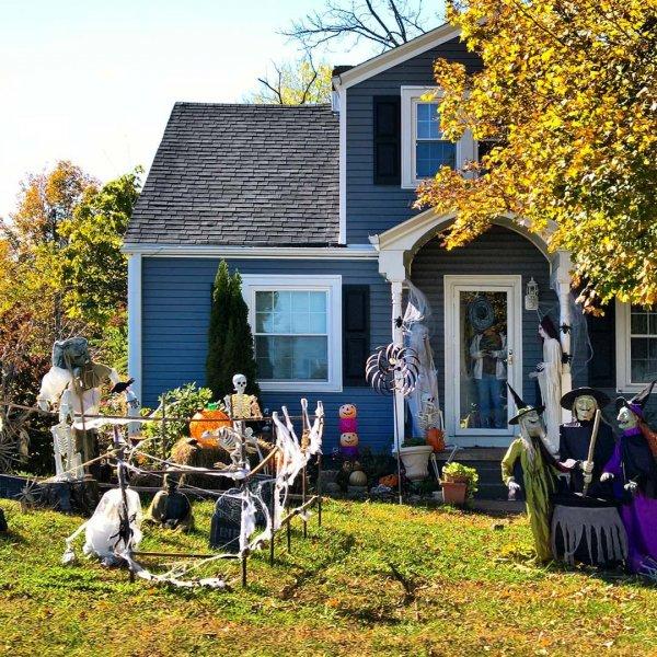 Creative halloween outdoor decor.