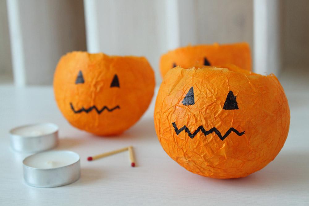 Creative pumpkin lantern using tissue paper and balloons.