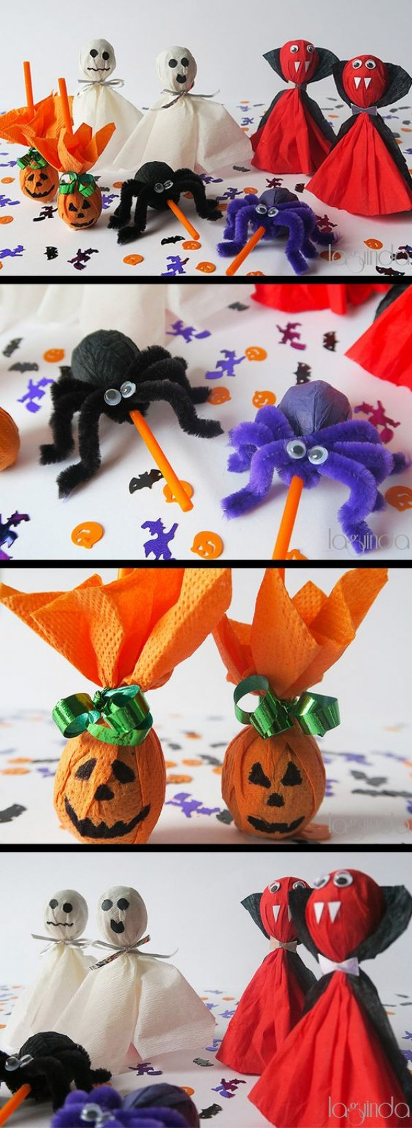 Creative way to make Halloween lollipops of different character by coffee filters.