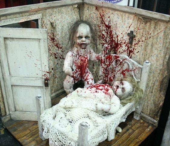 Creepy Halloween party decor idea.