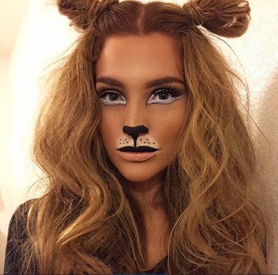 Cute lion makeup for beautiful girl.