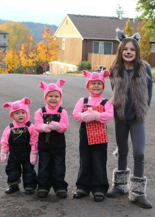 Cute three Little Pigs and the Big Bad Wolf.