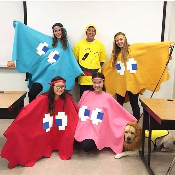 DIY Pacman and ghost Halloween group costumes.