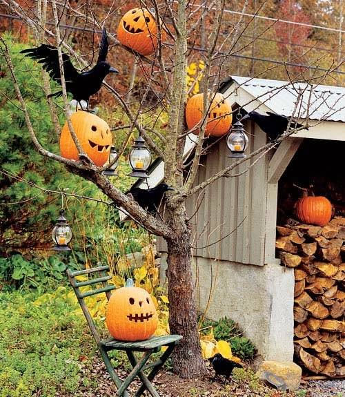 Decorate outdoor tree with pumpkins and lanterns.