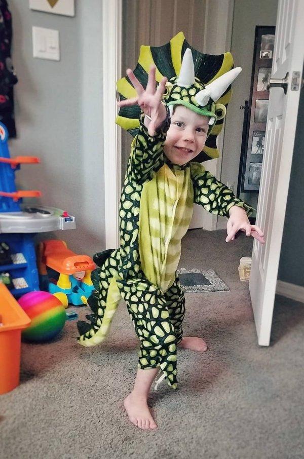 Dinosaur handmade costume for little boy.