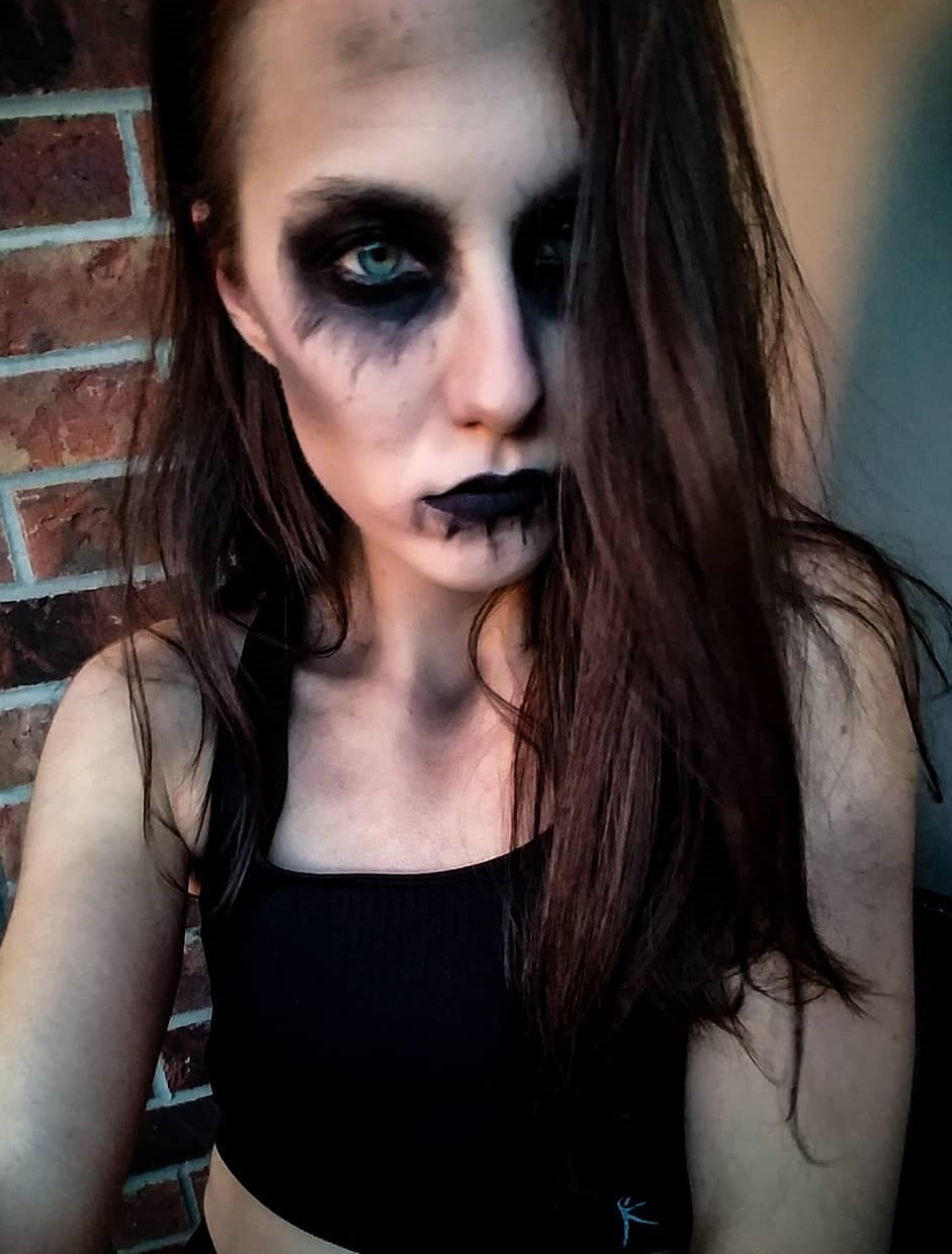 Dramatic scary makeup for Halloween party.