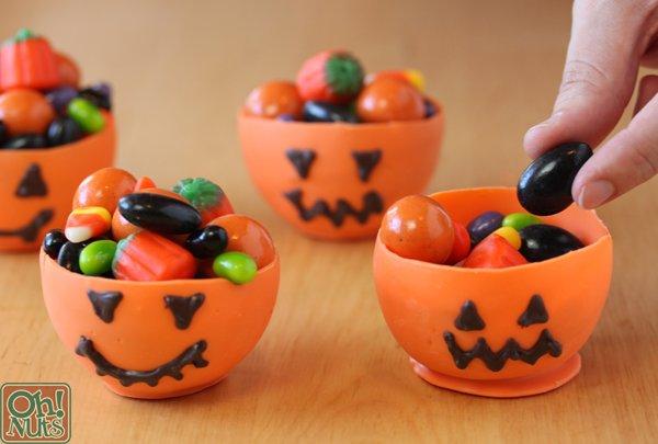 Edible pumpkin candy cups.