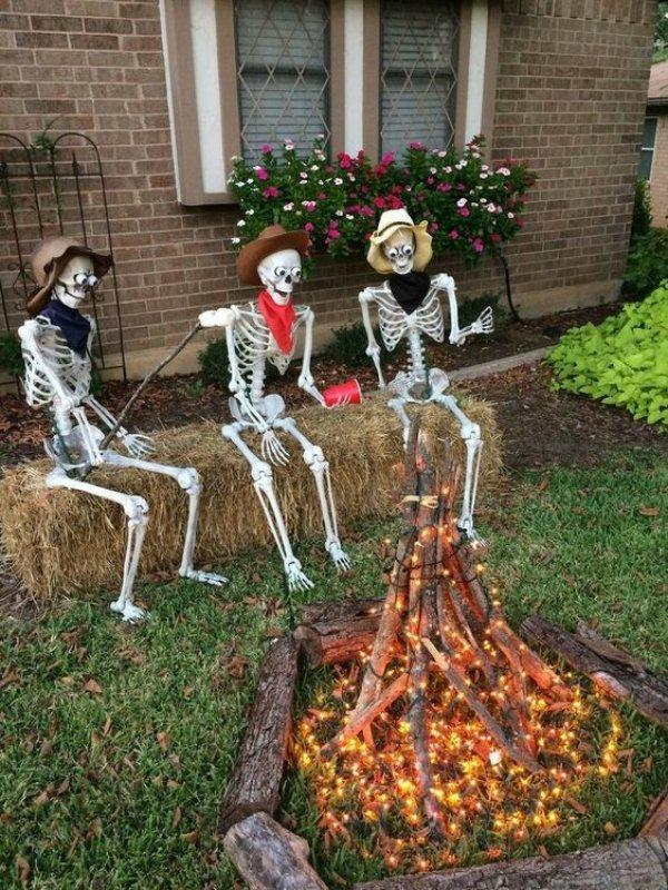 Enjoying Halloween party in the garden.