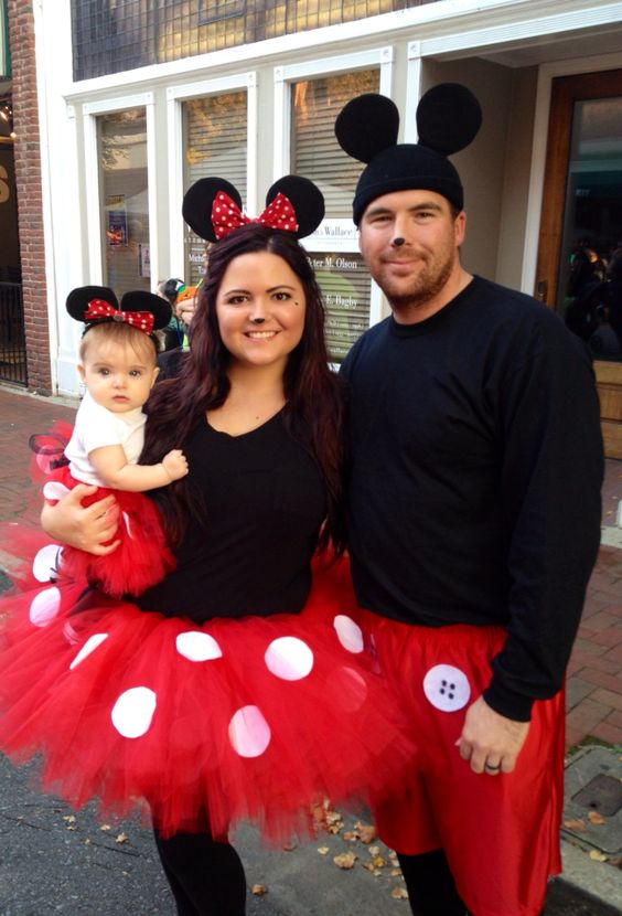 Exclusive Mickey and Minnie mouse family costumes.