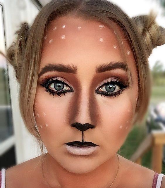 Exclusive deer makeup for Halloween party.