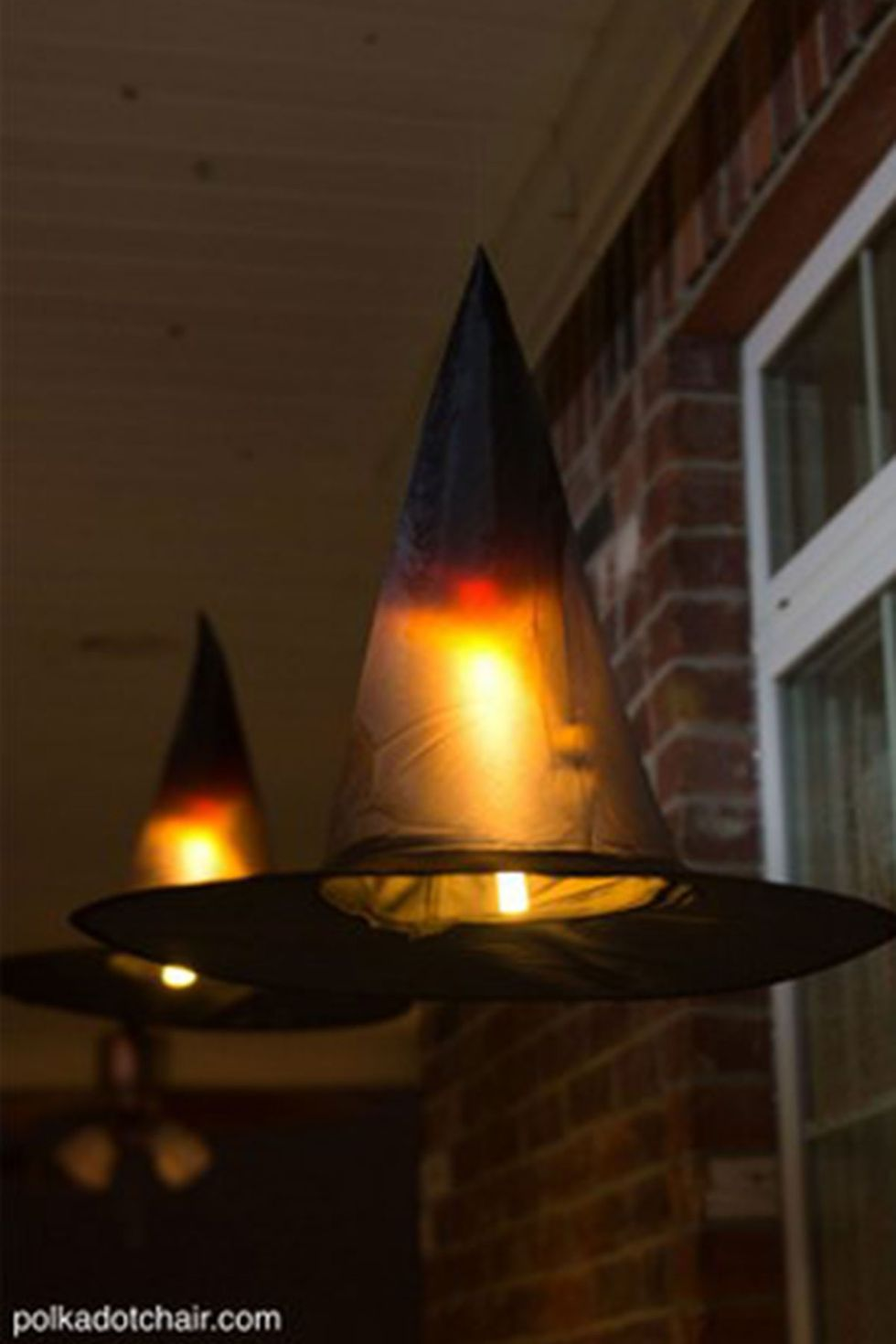 Floating witch hat luminaries.