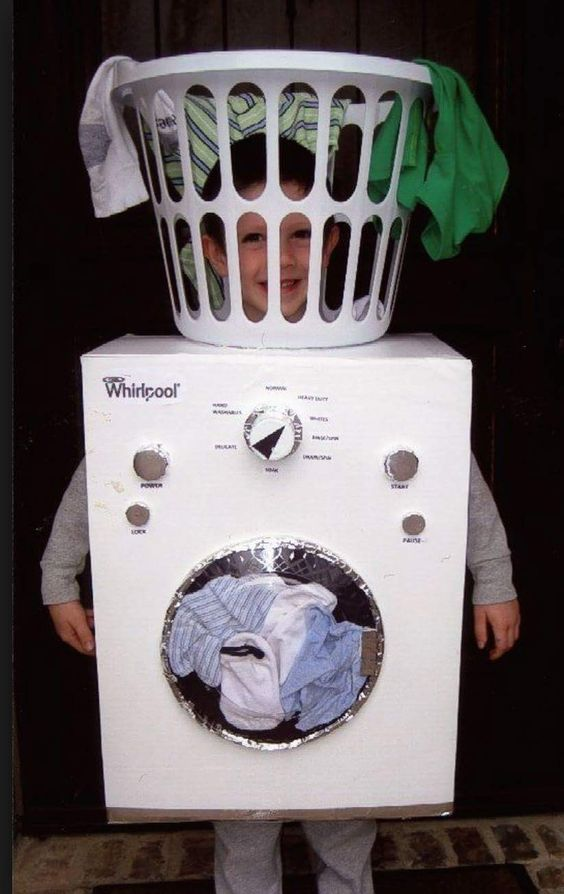 Front loading washing machine kid costume for Halloween.