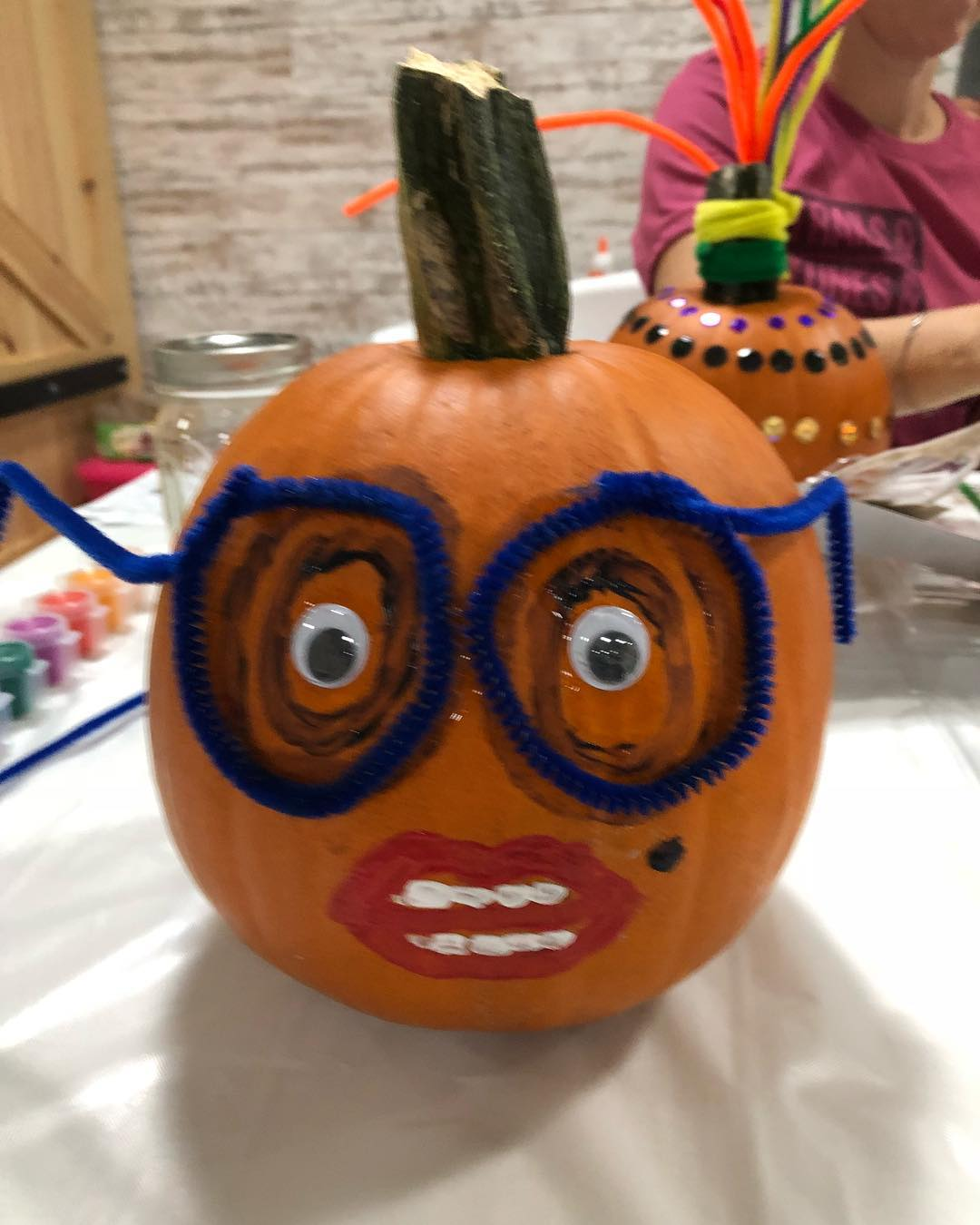 Funny pumpkin decor for Halloween. Pic by joybellaphotography