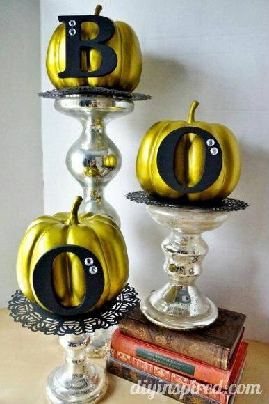 Golden pumpkin BOO decoration.