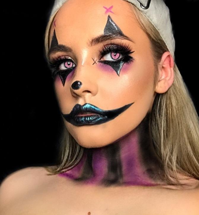 Gorgeous women with clown makeup idea.