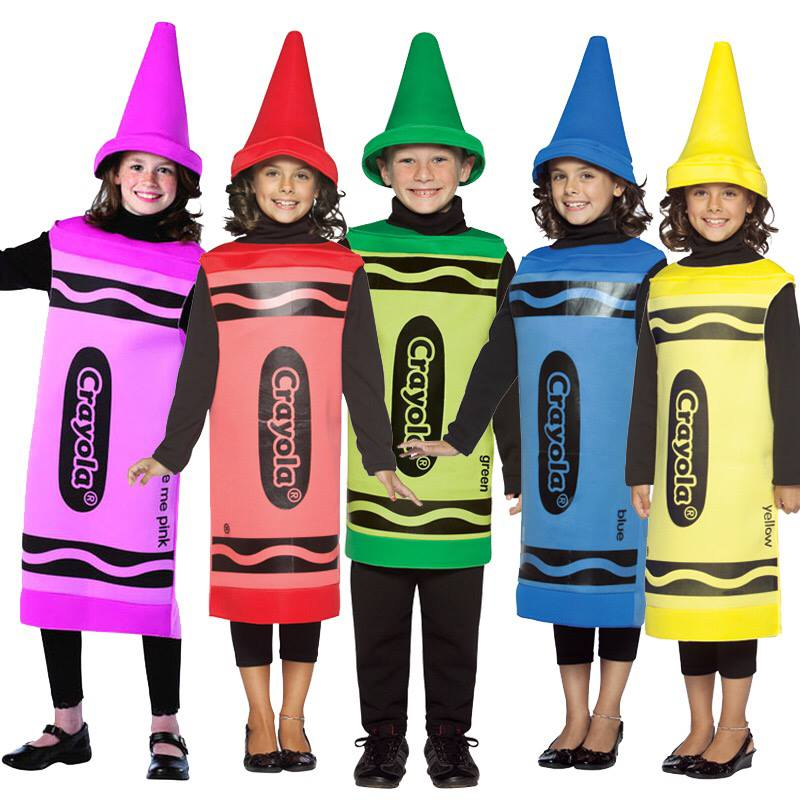 Graceful crayons group costume.