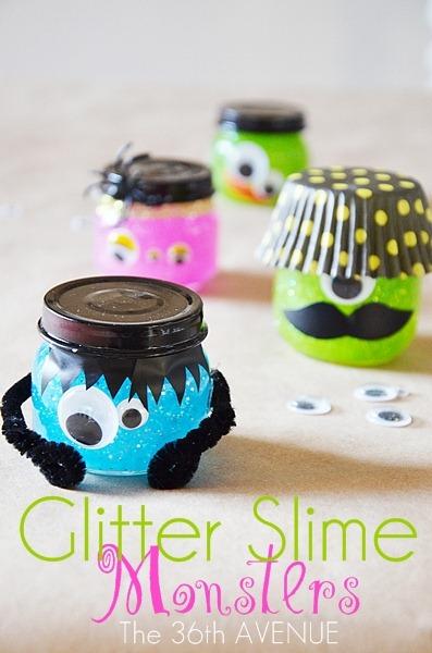 Halloween gliter slime monsters.