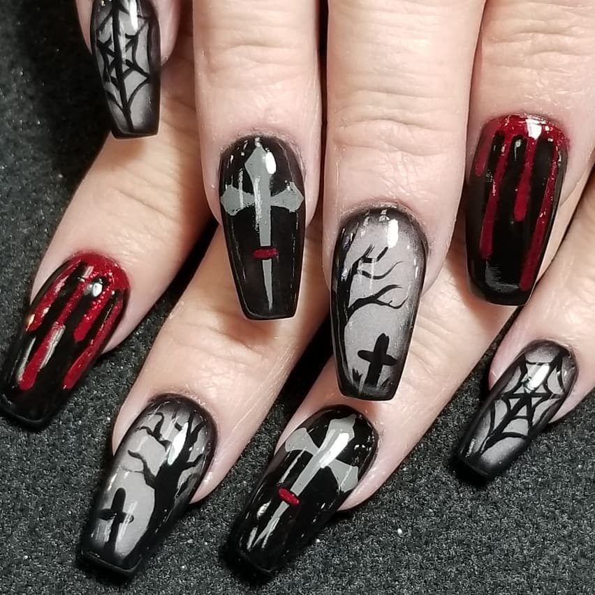 Halloween nails with different patterns. Pic by jolgordons
