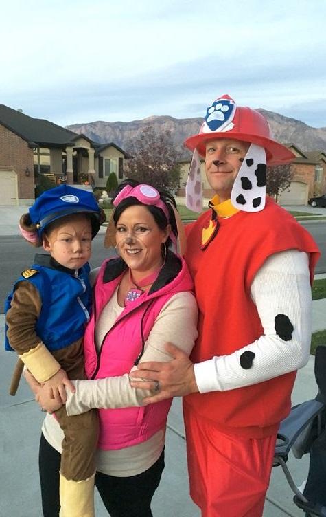 Handmade Paw patrol Halloween family costumes.