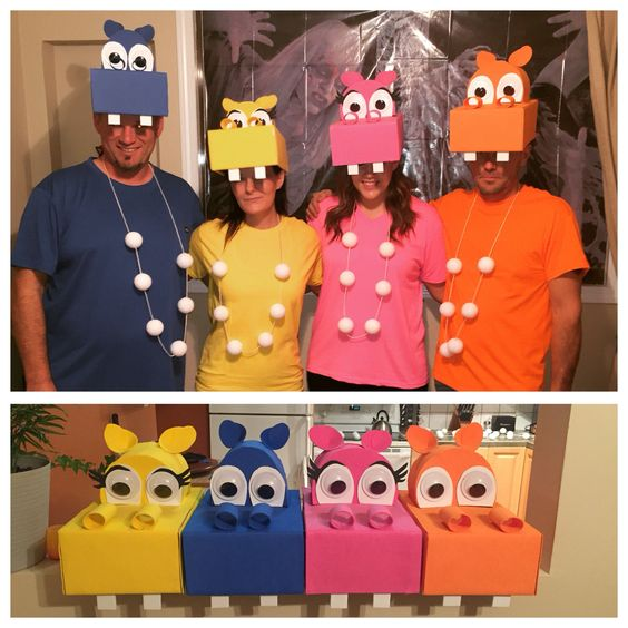 Hungry Hippos costumes for Halloween.
