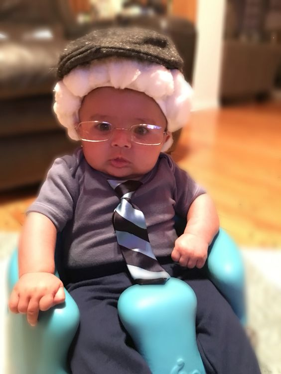 Little old man baby costume just adding a pair of old glasses along with wig.