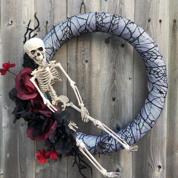 Lovely handmade skeleton Halloween wreath.