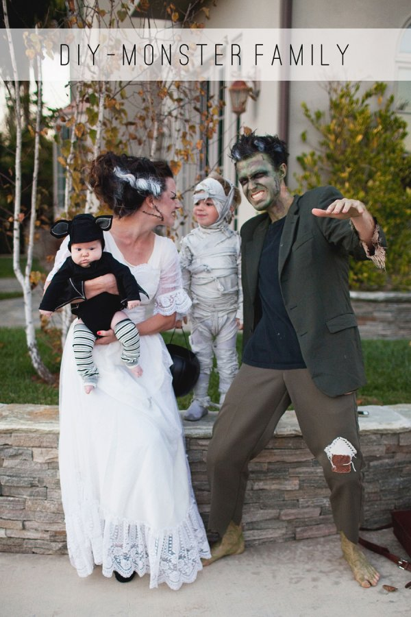 Monster family ready for halloween party.