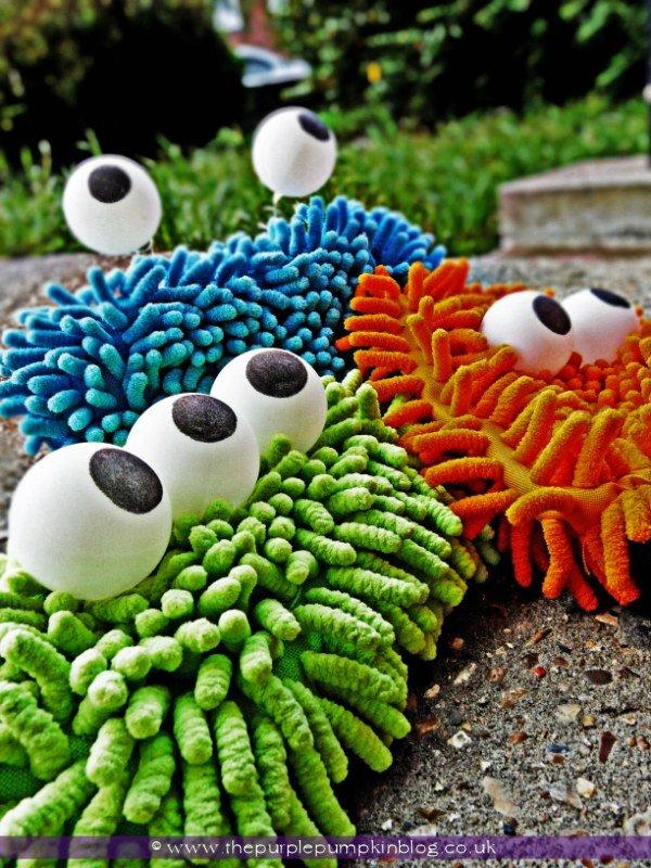 Monsters made by microfiber and pom pom.