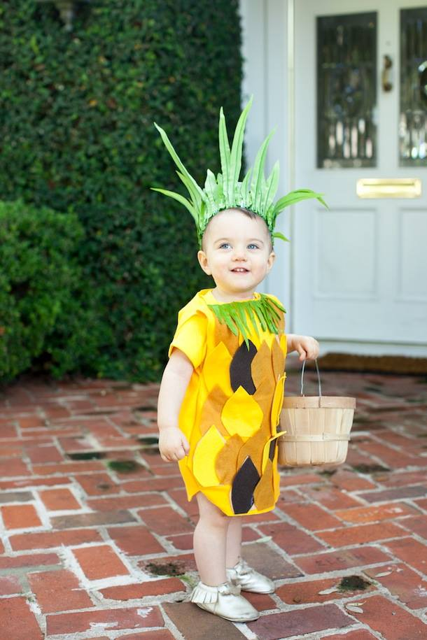 No sew pineapple toddler costume.