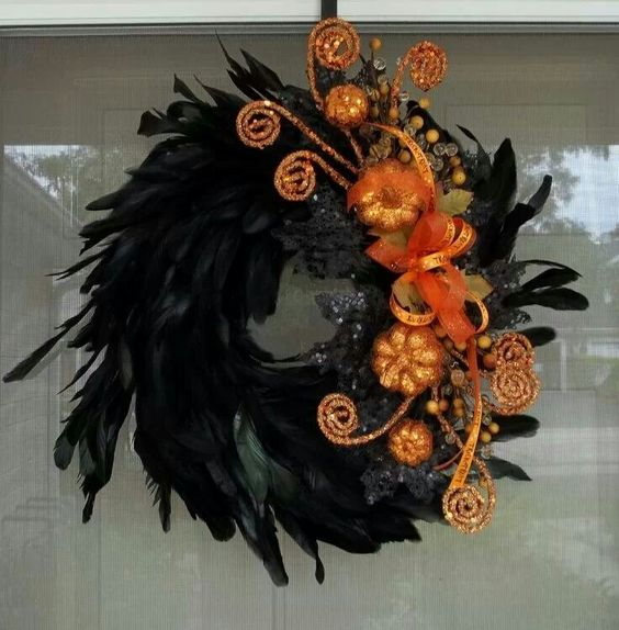 Orange and black wreath.