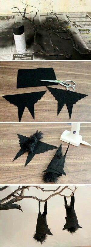 Paper bat tutorial for chandelier decoration.